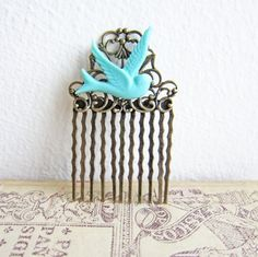 turquoise oral and tiffany blues | Turquoise Hair Comb Tiffany Blue Hair Comb Bird ... | Jewelsalem Etsy