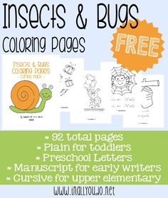 Grab these fun Insects & Bugs coloring sets {free} from In All You Do. Includes 92 pages in plain, preschool letters, manuscript and cursive!!