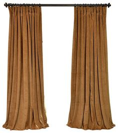 Signature Amber Gold Doublewide Blackout Velvet Curtain - Traditional - Curtains - Half Price Drapes