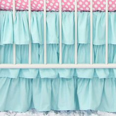 We cant get enough of ruffles! Our gradient 3 tier ruffle crib skirt has a 17 drop, and ruffles on all four sides.  Make sure to check out