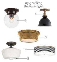 Upgrading the Boob Light Chris Loves Julia Hallway Lighting, Strip Lighting, Home Lighting, Lighting Design, Lighting Ideas, Bedroom Lighting, Interior Lighting, Kitchen Ceiling Lights, Kitchen Lighting Fixtures