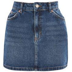 TopShop Moto Mid Blue Denim Mini Skirt (70 CAD) ❤ liked on Polyvore featuring skirts, mini skirts, bottoms, saias, blue, topshop, mid stone, blue denim mini skirt, straight denim skirt and button skirt