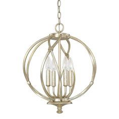 This Bailey collection 4-light pendant features a beautiful hand painted winter gold finish that will complement many modern and transitional decors. The light cluster adds interest to this popular sphere design.