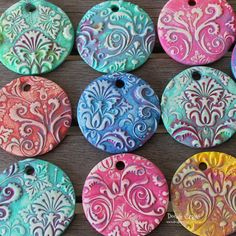 Terrific Screen sculpey clay ornaments Popular Damask Polymer Clay Pendants made with Sculpey Sculpey Clay, Polymer Clay Kunst, Polymer Clay Pendant, Polymer Clay Projects, Polymer Clay Creations, Polymer Clay Jewelry, Polymer Clay Painting, Polymer Clay Ornaments, Baking Clay