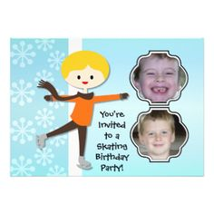 Having a birthday skating party? You'll love these cute and colorful winter skating theme Blond Boy Birthday Skating Party invitations that you can easily add photos and your birthday party specifics to! Features a blond haired ice skating boy on a soft blue background with white snowflakes! #skating #skater #photos #skates #winter #birthday #customized #parties #kids #personalized #custom #peacockcards #childrens