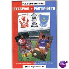 Liverpool v Portsmouth 05/04/1992 FA Cup Semi Final Football Programme Sale