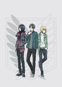 Mikasa, Eren, and Armin