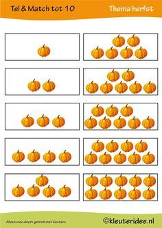 5 Spelbladen:Tel & match tot 10, thema herfst, juf Petra van kleuteridee, count & match 1-10, Preschool autumn theme, free printable 4.