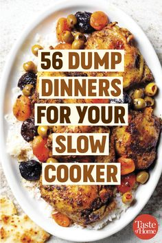 56 Dump Dinners for Your Slow Cooker Even on crazy days, you can make Crock-Pot dump dinners happen fast! In the morning, just throw everything in your slow cooker—no browning, no sauteing, no searing. - 56 Dump Dinners for Your Slow Cooker Crockpot Dishes, Crock Pot Slow Cooker, Slow Cooker Recipes, Cooking Recipes, Crockpot Dump Recipes, Crock Pot Dump Meals, Best Crockpot Meals, Slow Cooker Meal Prep, Slow Cooker Freezer Meals