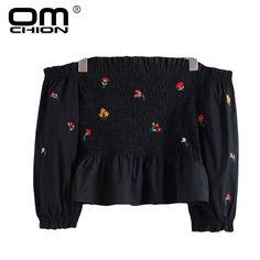 00a82867d4cd29 OMCHION Women Blouses 2017 Long Sleeve Vintage Floral Embroidery Blusa  Elegant Casual Shirt Summer Off Shoulder Blouse