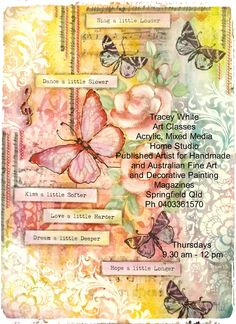 Sing A Little Louder Canvas Deco Art Products, Crackle Paste, Spray Inks, Tissue paper. Inspiration canvas by Tracey White