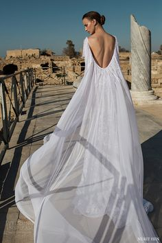 nurit hen 2016 fringe cape half sleeves bateau trumpet lace wedding dress (lw21) bv scoop back train
