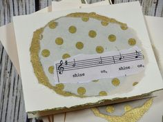 Gold Polka Dot Handmade Card Set (5) with Vintage Sheet Music by YourSongDesigns on Etsy