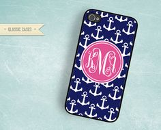 iPhone 4s case Pink Monogram Navy Blue Anchor Iphone 5 case Iphone 4 case cover. $16.00, via Etsy. Cute little present for a bride.