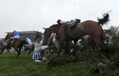 Teaforthree, ridden by Nick Scholfield, falls at the Chair during the Grand National Steeple Chase at Aintree, northern England April 5, 2014. REUTERS/Russell Cheyne