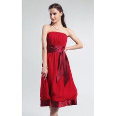 A-line Strapless Empire Knee-length Chiffon Bridesmaid Dress