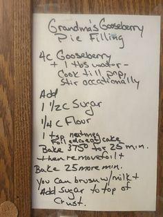 Gooseberry pie (with gf flour) Gooseberry Recipes, Pie Cake, No Bake Cake, Kitchen Recipes, Cooking Recipes, Types Of Pie, Pie Crust Recipes, Baking Flour, Kitchens