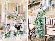 Creative ways to use faux candles, greenery table runners, mahogany chiavarri chairs, champagne linens, and blush flowers at a Daniel Island Club wedding reception in Charleston, South Carolina by Aaron and Jillian Photography