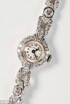 1939 - Platinum watch given by Adolf Hitler to his mistress Eva Braun for her birthday. The Eszeha watch was engraved with 'Zum herzlichst A. Hitler' ('On 6 February most affectionately, A. History Of Earth, History Pics, Monument Men, Horrible Histories, The Third Reich, World War Two, Wwii, Antique Jewelry, Bracelet Watch