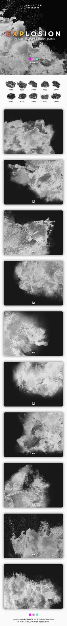 Buy Powder Explosion Brushes by kauster- on GraphicRiver. Powder Explosion Brushes This pack includes 10 Powder Explosion Brushes. Suitable for printing, web design, banners,. Best Photoshop Actions, Photoshop Tips, Photoshop Brushes, Lightroom, Grunge, Shops, Web Design, Graphic Design, Template