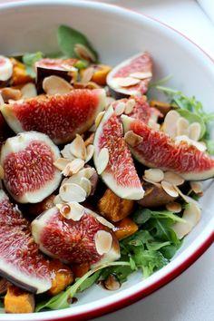 salade met zoete aardappel, verse vijgen en balsamico