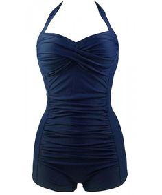 1042e74e Women's Plus Size Padded Retro One Piece Monokini Swimsuit Bandage Bathing  Suit - Dark Blue - CX17WU02I3C