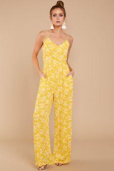 Trendy Yellow Print Jumpsuit - Chic Jumpsuit - Jumpsuit - $52.00 – Red Dress Boutique