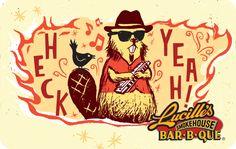 Lucille's Smokehouse Bar-B-Q Gift Card Bar B Q, Smokehouse, Gift Cards, Gifts, Gift Vouchers, Favors, Smoking Room, Presents, Gift Tags