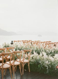 flower lined rooftop ceremony