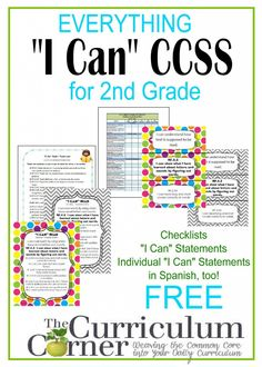"""""""I Can"""" Statements FREE from www.thecurriculumcorner.com for 2nd Grade 