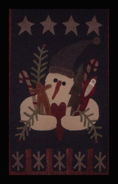 Gathering Christmas - Wool Applique Wall Hanging
