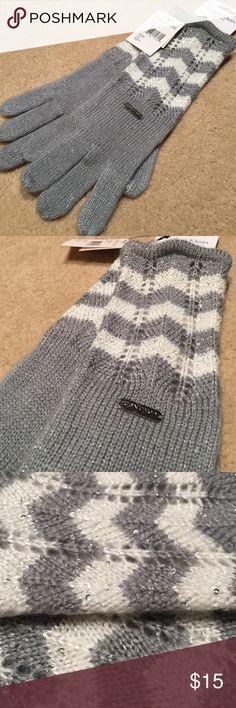 Calvin Klein Sparkly Grey and White Gloves! Beautiful brand new Calvin Klein gloves. So sparkly! Fits small hands. Calvin Klein Accessories Gloves & Mittens