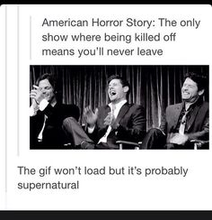 I don't know weather to put this in supernatural or American Horror Story pin board so I'm just gonna put it in supernatural