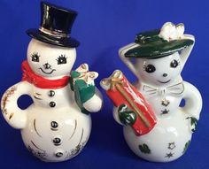 Vintage Norcrest Frosty The Snowman and Wife Salt and Pepper Shakers Japan #SnowmanSnowWoman