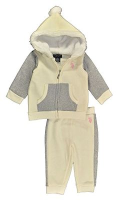 US Polo Assn BabyGirls Newborn Lurex and Solid Fleece Knit Jog Set Vanilla 12 Months -- Read more reviews of the product by visiting the link on the image. (This is an affiliate link) #BabyGirlHoodiesActive