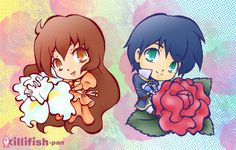 Juliet Capulet and Romeo Montague from the anime adaptation of Romeo & Juliet, Romeo x Juliet. Romeo x Juliet Anime Chibi, Anime Manga, William Shakespeare, Romeo And Juliet Anime, Sky Wizards Academy, Romeo Montague, Juliet Capulet, Accel World, Anime Group