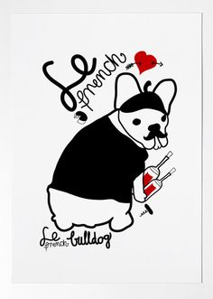 THE FRENCH BULLDOG  france  dog prints  Frenchie by nicemiceforyou, $20.00