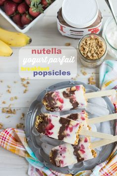 Nutella Yogurt Parfait Breakfast Popsicles | Baking a Moment  - Make Homemade Nutella and use coconut yogurt for these yummies.  These would make a GREAT breakfast for a hot summer day.