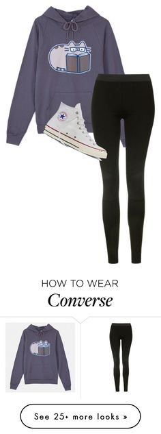 """Sick"" by clouded4ever on Polyvore featuring Pusheen, Topshop and Converse"