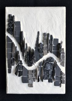 """""""Metropolis"""" (2014), 6"""" x 4.25"""", stone, coal, flint, shale, cinca. Done for Week 15 of the Institute of Mosaic Art's weekly mosaic workout challenge (theme: """"string theory"""")"""
