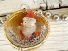Mid Century Santa Indent Diorama Glass Ornament