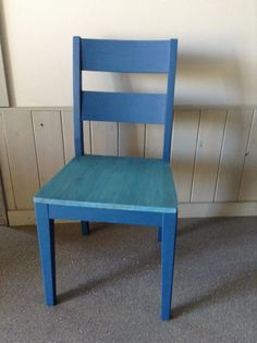 Chalk painted dining chair makeover painted and stained with Superior Paint Co. Sapphire Skies royal blue Chalk Furniture and Cabinet paint. Dining Chair Makeover, Painted Dining Chairs, Chalk Paint Colors, Cabinet Furniture, Painting Cabinets, Color Of The Year, Royal Blue, Sapphire, Wood
