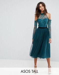ASOS TALL PREMIUM Tulle Cold Shoulder Midi Prom Dress