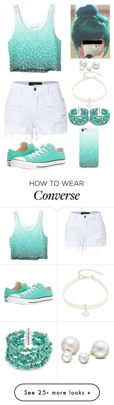 """""""White And Turguoise"""" by lucy-wolf on Polyvore featuring GURU, LE3NO, Converse, Design Lab, Allurez and Bling Jewelry"""
