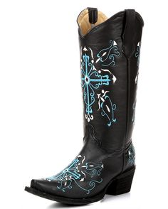 Corral Women's Black/Turquoise-White Cross Embroidery Boot - L5101