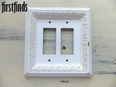Gfi light switch plate electrical outlet cover shabby chic off white framed double switch plate ornate shabby chic white by firstfinds publicscrutiny Images