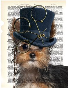 "Dictionary Page Art - DIY Digital Art Print - Steampunk Yorkie on a Vintage Dictionary Page - CP-492 - 8.5""x11"" - Instant Download"