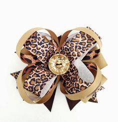Cheetah Print Hair Bows/ Hair Bows / Diva Hair Bows/ Cheetah Hair Bows/ Cheetah/ Chic Hair Bows/ Big Hair Bows/ Brown, Tan Hair Bows/ Girls on Etsy, $6.50