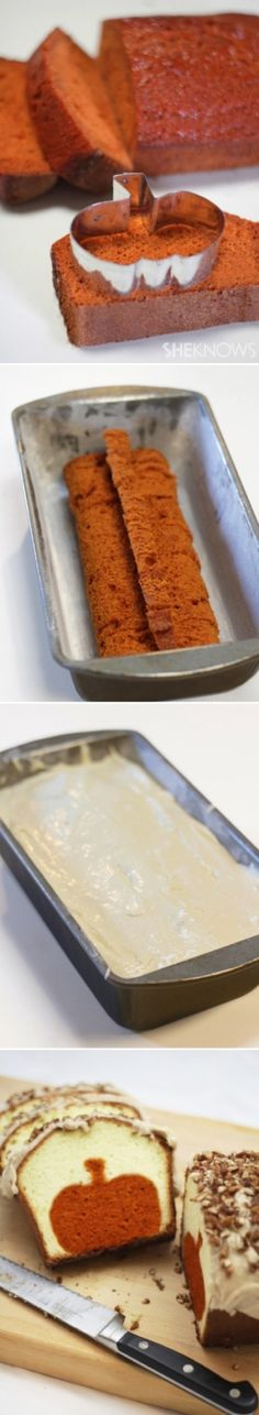 Peekaboo pumpkin pound cake ~ Use a Christmas Tree cookie cutter or star cutter for Christmas. I like that I'd probably have to eat the leftover after making the cutout. Just Desserts, Delicious Desserts, Dessert Recipes, Yummy Food, Recipes Dinner, Pasta Recipes, Crockpot Recipes, Soup Recipes, Breakfast Recipes