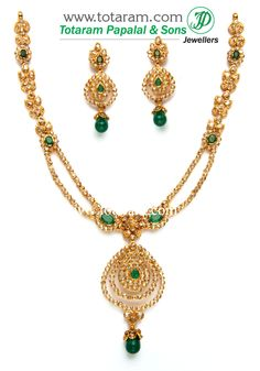 22K Gold Necklace & Ear Hangings Set with Uncut Diamonds,Emerald & Onyx Beads